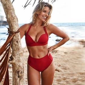 2020 New Sexy Gather Cup Swimsuit Women Solid Color Beachwear Push Up Swimwear S-2XL Girl High Waist Bathing Suit Bikini Set