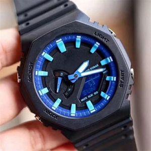 Новый 2100 Royal Oak Shock Часы для мужчин Спорт на открытом воздухе Shock наручные часы светодиодные цифровые кварцевые мужские часы Часы Подарок Мужской Мальчик оптом