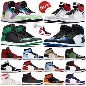 1 humo de alta OG luz gris zapatos de baloncesto del multicolor UNC 1S punta real para hombre de Chicago de hongo negro Jumpman deporte de los hombres zapatillas de deporte