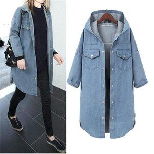 Hodisytian Women Denim Jacket Coat Autumn Long Jeans Jackets Windbreaker Casual Loose Outerwear Cardigan Coat Female Plus Size