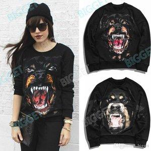 Fashion Sweatshirt For Women 3D Printed Rottweiler Round Neck Fleece Cotton Sweat Jumper Thick Sweat Pullover