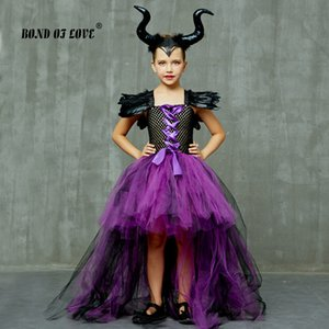 Maleficent Evil Queen Girls Tutu Dress and Horns Halloween Cosplay Witch Costume for Kids Party Dress Children christmas clothes T200709