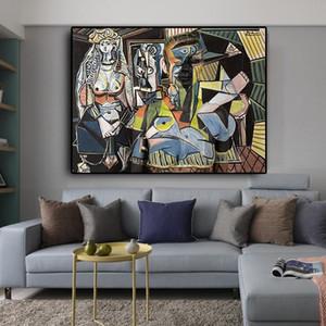 Mujeres de Argel de Pablo Picasso del extracto del aceite famoso cuadro reproducciones Pósteres Láminas de cuadro de la pared Sala de estar la decoración del hogar