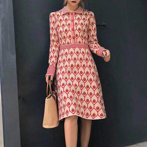 2020 Summer Sweet Red Print Women Knitted Dress Runway Designer Long Sleeve Female Party Sweater Dresses Clothes