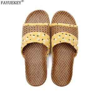 FAYUEKEY Estate Lino Pantofole Coppie in lino tessuto floreale Slides Sandali Donna Uomo Scarpe Indoor Pantofole signore Infradito