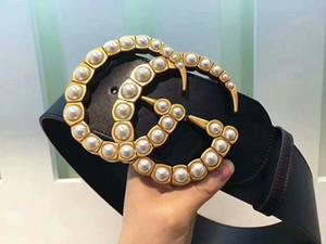 2020 mujeres nobles diseño de la hebilla del cinturón feminidad perla ancho de 7cm mujer # 160; lujo de diseño # 160; Marca 1G cinturón 1Gcuero