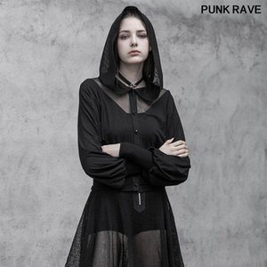 Fashion Mesh Stitching Perspective Knitted Hooded Short Coat Gothic V-neck Sexy Women Cardigan Jacket PUNK RAVE OPY-391XDF