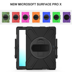 Kids Safe Protective Skin Shell for Surface Pro X 13 inch Heavy Duty Shockproof Cover Silicone Case with Hand Strap+Pen