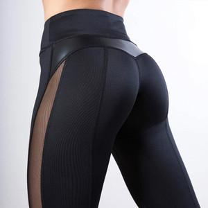 Pantalones de cuero CHRLEISURE acoplamiento de la manera polainas aptitud de las mujeres Legging PU Leggins entrenamiento corazón polainas polainas Femme