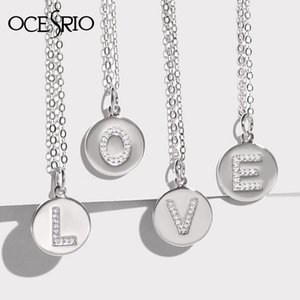 OCERIO Cubic Zirconia Initial Letter Necklace Tiny CZ Coin Round Name Rainbow Necklace Pendant bijoux femme nke-p15