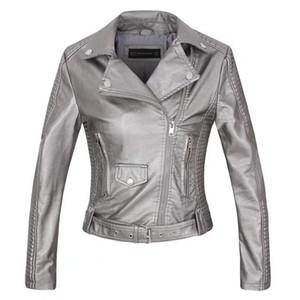 faux leather PU Jacket Women Spring Autumn Fashion Motorcycle Jacket Black faux leather coats Outerwear coat HOT