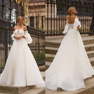 Newest Elegant A-line Wedding Dresses Ruched Organza Strapless Beach Wedding Dress Sexy Backless Custom Made Long Robes De Mariée Cheap