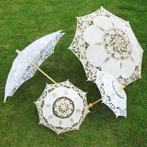 Noiva do laço Sun Umbrellas laço branco da dama de honra Sun Umbrella algodão bordado branco Ivory Lace Parasol Noiva-chuvas de casamento