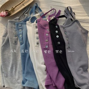 PBwY9 Small camisole women's inside sexy Underpants buttons Top Button sleeveless short button knitted base T-shirt chic top summer outdoor