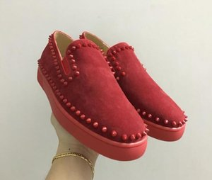 drop shipping new casual Luxury Designer Red Bottom Loafers For high top Genuine Leather Slip On Platform Casual Sneakers Spikes Weddin s04