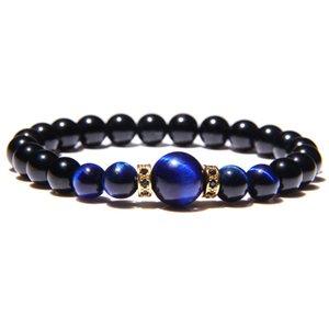 Classic Natural Onyx Braccialetto in rilievo blu rotondo lapis gioielli della pietra di gemma del braccialetto di lazuli Tiger Eye Energia fascino per le donne gli uomini