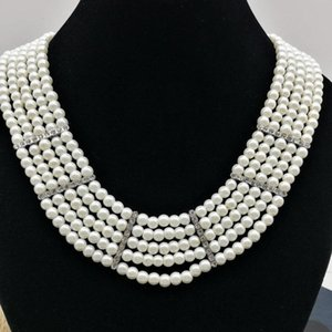 Free shipping 5 strands of white artificial pearls rhinestone necklace fashion jewelry sets & the bride