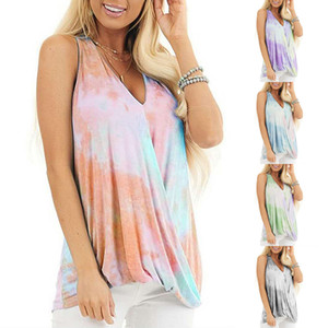 Summer Womens Casual Sleeveless Dye Tie Print Sexy Deep V Neck Loose Tank Blouse Fashion Beach Party T Shirts Tops