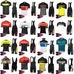 SCOTT TEAM تنفس الصيف الرجال الدراجات قصيرة الأكمام جيرسي مريلة السراويل مجموعات ملابس Ciclismo 9D هلام وسادة السروال مجموعة F072404
