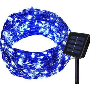Solar Luzes Cordas Outdoor 100 LED impermeável fadas Cordas decorativas fio de cobre Luzes para o casamento Pátio Quarto azul do partido