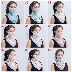 Half Cheap US Summer Chiffon Face Dust-proof Women Sun Windproof Silk Scarf Handkerchief Outdoor FY6127 Stock Face Mask Scarves Protect Khts