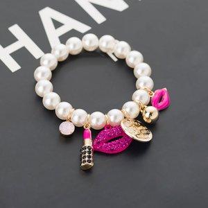New Chain Pearls Bracelets Rhinestone Red Lips Lipstick Pearl jewelry Pulseiras Bracelet Ladies Accessories