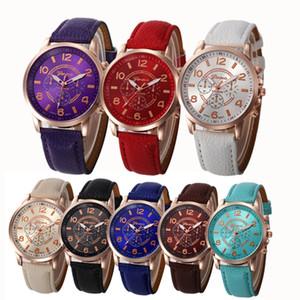 Relógio de pulso 2019 Hot Sale Mulheres Relógios de moda de luxo Casual Damas Faux Quartz Analog Genebra numerais romanos Faux Leather
