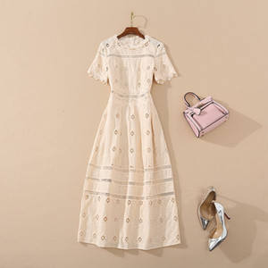 2020 Summer Newest Luxury Short Sleeve Round Neck Solid Color Cotton Panelled Embroidery Mid-Calf Dress Runway Dresses JL141605
