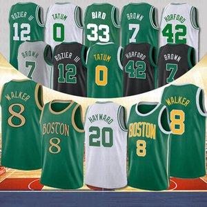 NCAA 8 Kemba Walker Men College Basketball 0 Jayson Tatum 20 Gordon Hayward 7 Jaylen Brown 33 Larry Bird Basketball Jerseys Boston Celtics 2020 Nouveaux maillots