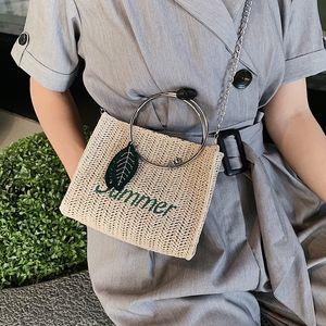 2019 Satchel satchel new fashion chain shoulder messenger Korean style portable straw bag fashion straw bag ins