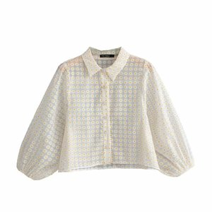 2019 new women fashion small floral print casual smock blouse shirts women sexy transparent gauzes chic femininas tops LS3830 CX200714