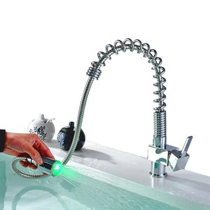 Mrosaa Puxe torneira LED Controle de Temperatura 3 cores Hot Fria Tap para Cozinha Casa de banho