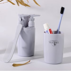 Travel portable sub-bottle wash Cup toothbrush 4-piece outdoor travel toothbrush box set wash set storage Cup