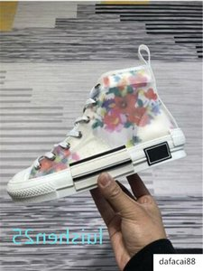 19SS Flowers Technical Canvas B24 High Top Casual In Oblique Mens Brand B23 Designer Shoes Womens Fashion Sneakers L25