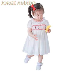 Kids Dresses for Girls 2020 Summer White Smocked Girl Dress Short Sleeve Princess Dress Baby Clothes E20421