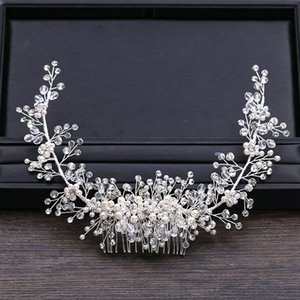 Блестящий кристалл жемчуг Гребень Tiara Корона головной убор невесты Гребенки для оголовье Люкс Свадебные аксессуары для волос SL Y200727