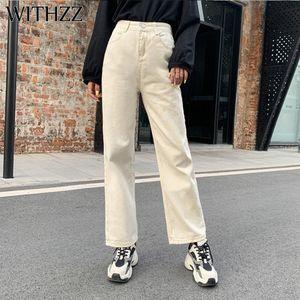 WITHZZ Spring Autumn Wide-leg Jeans Women's High-waist Denim Pants Retro Loose Droop Straight Trousers Jeans CX200713