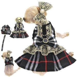 Gato Perro Perro de moda Faldas manera del chaleco de la tela escocesa del estilo de Lolita vestido camisola admiten mascotas ropa ropa de la ropa Supplie precios al por mayor