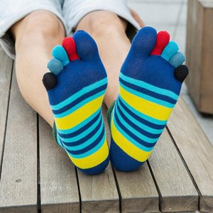 1 Pairs Summer Men Socks Boys Cotton Finger Breathable Stripe Five Toe Socks Pure Sock Five Finger Toe Shoes Fashion Mens