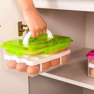 Bilayer Egg Storage Box 24 Grid-Nahrungsmittelbehälter halten Eier Frische Organizer Küchenzubehör