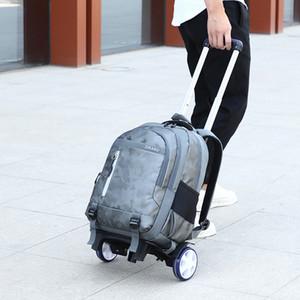 crianças Rolamentos sacos sobre rodas Children rodas viagem mochila escolar para Boys School Trolley mochila bagagem estudante da escola saco T200709