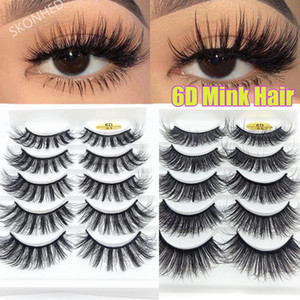 5 Pairs 6D Faux Mink Hair False Eyelashes Natural Long Wispies Lashes Handmade Eye Lash Extension Woman Eye Makeup Tools