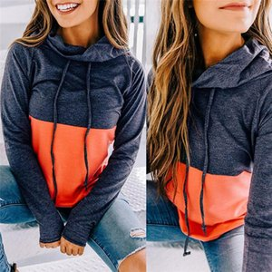 Women Stacked Neck Hoodies Splice Solid Color Long Sleeve Autumn Hoodies Ladies Casual Sweatshirts