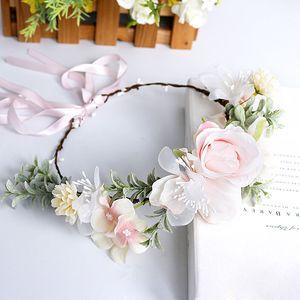 Sweet Girls Flower Bridal Garland Bridesmaid Headdress Simulation Flower Wreath Woman Pink Flower Hair Ornament Photography Jewelry S266