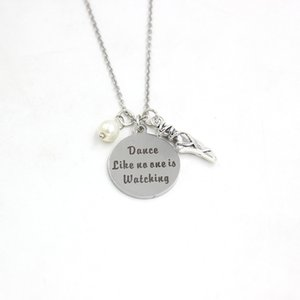 New Arrival Stainless Steel Necklace Dance Necklace dance like no one is watching charms pendant Necklace dance gift ballerina gifts