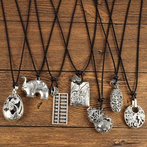 1pcs Imitation Beeswax Alloy Elephant Longevity Lock Lucky Bag Wax Rope Necklace Trendy Men Jewelry Pendant Gifts