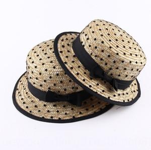 Baby Summer parent-child girl children's flat top children's sun Straw straw hat hat fashionable gauze polka dot lady