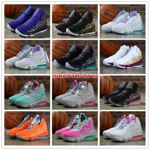 дешевые мужские новые Леброн 17 Баскетбольная обувь для продажи Future Red Carpet PURPLE золота в ARENA женщин детей Леброн кроссовки Джеймсе тенниса