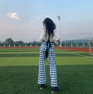 INS 105-2020 Spring New Jin Zhini Celebrity Inspired Gradient Plaid Loose High Waist Casual Pants All-match Straight Pants Womens Sale