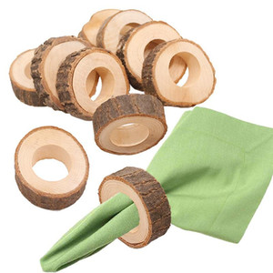 Wooden Napkin Ring Countryside Wooden Napkin Buckle Wedding Hotel Restaurant Tablecloth Ring Party Banquet Table Decoration EEA1354